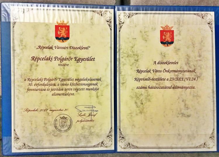Díszoklevelet kapott a Répcelaki Polgárőr Egyesület